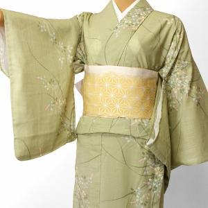 夏物 紗紬 薄物 着物 レンタル Mサイズ レディース 黄緑 萩 rental-kimono