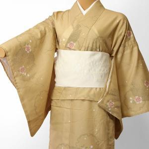 夏物 絽 薄物 着物 レンタル Mサイズ レディース 黄土色 雪輪 rental-kimono