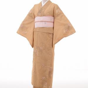夏物 絽 薄物 着物 レンタル M ワンタッチ 簡単 黄土色 雪輪 rental-kimono