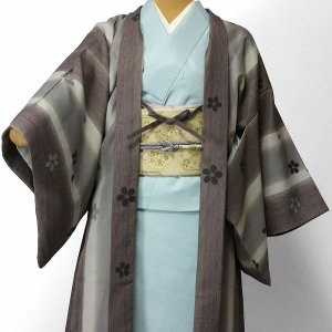 羽織 レンタル オプション レディース グレー縦縞桜