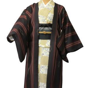 羽織 レンタル オプション レディース 茶色 縦縞菱