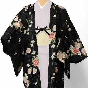 羽織 レンタル オプション レディース 黒 菊格子