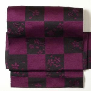 名古屋帯 レンタル アップグレード 赤紫・市松〔オプション〕お太鼓|rental-kimono