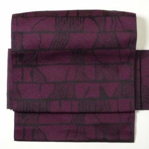 名古屋帯 レンタル アップグレード 赤紫・石垣文〔オプション〕お太鼓|rental-kimono
