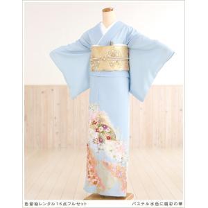 色留袖レンタル it040 パステル水色に扇彩の華/結婚式/...