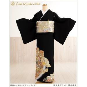 桂由美 大きいサイズ 留袖レンタル th020 黒留袖 留め...