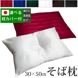 そば枕 頚椎安定型 日本製 35×50cm 雅 蕎麦枕 そばまくら サテンストライプの写真