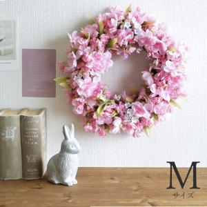 八重桜のリース Mサイズ ピンク 直径約30cm 造花 送料無料※北海道・沖縄・一部地域を除く