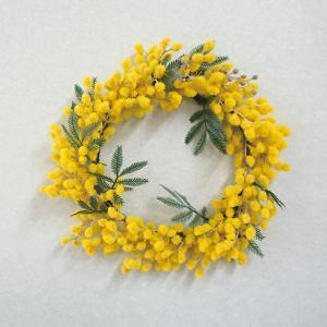 造花 ミモザリース 直径約22cm 1個