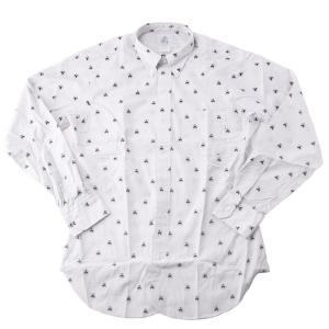 メンズ ブラックフリース by ブルックスブラザーズ ボタンダウンシャツ ホワイト ネイビー ストライプ   Black Fleece by Brooks Brothers Embroidered Button-d|republic