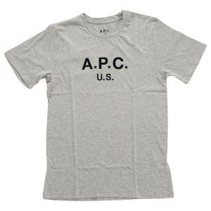 ◎祝!優勝セール◎25日まで送料無料さらに10%OFF! メンズ アー・ペー・セー ロゴ プリント Tシャツ 半袖 グレー A.P.C. T-shirt apc us h GRIS CLAIR COBQY-H republic