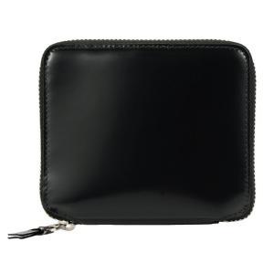 コムデギャルソン ジップ カーフレザー ウォレット 財布 ブラック シルバー 二つ折り財布 COMME des GARCONS SA 2100MI Super Fluo Zip Wallet republic
