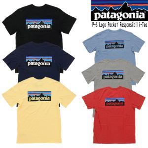 【6色】Patagonia パタゴニア Tシャツ 半袖 メンズ ロゴ プリント ポケット付き 39178 M's P-6 Logo Pocket Responsibili-Tee