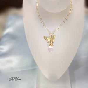 <14kgf>ローズクォーツとバタフライのネックレス pink x gold|resortiara