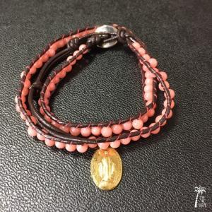 フランス奇跡のメダイとピンク珊瑚のラップブレス|resortiara