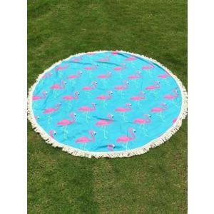 ビーチタオル beach towel ラウンド 丸 フリル フラミンゴ ターコイズ ブルー|resortiara