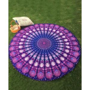 ビーチタオル Beach towel ラウンド 丸 インド柄 ピーコック 紫|resortiara