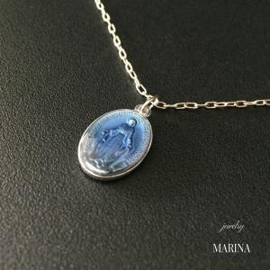 フランス奇跡のメダイのネックレス - blue silver|resortiara