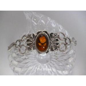 薔薇彫り琥珀のsilverブレス|resortiara