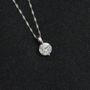 プラチナ2点留 1ctダイヤモンドペンダント/ネックレス スクリューチェーン(鑑別書付き)|resortiara