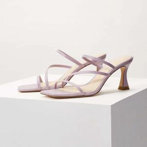MOTF 靴 サンダル  ヒール 高7.5cm パープル|resortiara