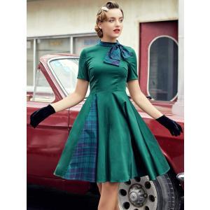 Aライン ワンピース タータンチェック グリーン エレガント ドレス |resortiara