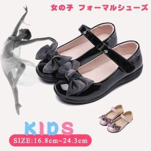 年末セール 子供靴 フォーマル 女の子 リボン エナメル 黒 ピンク おしゃれ ワンストラップ ベルクロ|resty