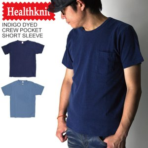 (ヘルスニット) Healthknit インディゴ クルーネック ポケット Tシャツ カットソー ショートスリーブ インディゴ染め|retom