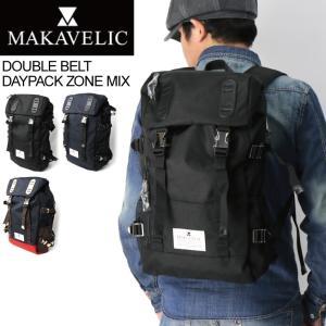 (マキャベリック) MAKAVELIC ダブルベルト デイパック ゾーン ミックス バックパック リュックサック メンズ レディース|retom