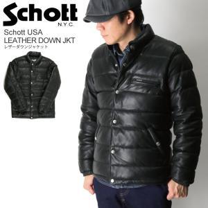 (ショット) Schott レザー ダウン ジャケット 革ジャン バイカー メンズ レディース|retom