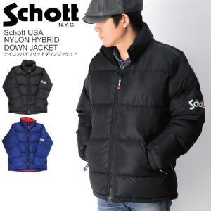 10%OFF!! (ショット) Schott ナイロン ハイブリッド ダウン ジャケット ダウンジャケット メンズ レディース|retom