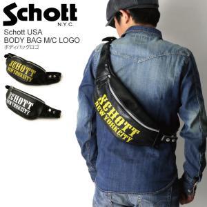 (ショット) Schott ボディバッグ ロゴ レザーバッグ ウエストバッグ ショルダーバッグ メンズ レディース|retom