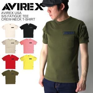 (アビレックス) AVIREX アヴィレックス クルーネック ファティーグ 半袖 Tシャツ カットソー ミリタリー メンズ|retom