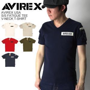 (アビレックス) AVIREX アヴィレックス Vネック ファティーグ 半袖 Tシャツ カットソー ミリタリー メンズ|retom