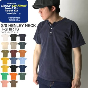 (グッドオン) Good On ショートスリーブ ヘンリーネック Tシャツ カットソー 無地 メンズ レディース|retom