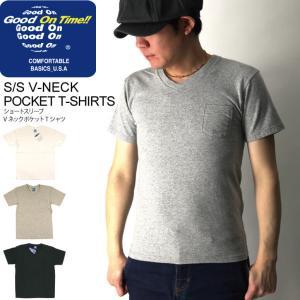(グッドオン) Good On ショートスリーブ Vネック ポケット Tシャツ ポケT カットソー 無地|retom