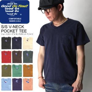 (グッドオン) Good On ショートスリーブ Vネック カラー ポケット Tシャツ カットソー メンズ レディース|retom