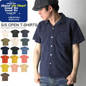 (グッドオン) Good On ショートスリーブ オープン Tシャツ 開襟シャツ カットソー 無地 メンズ レディース|retom