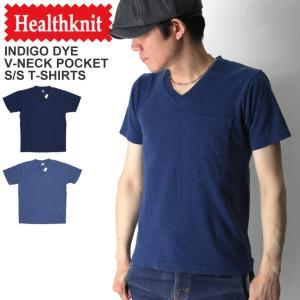 (ヘルスニット) Healthknit インディゴ Vネック ポケット Tシャツ カットソー ショートスリーブ インディゴ染め|retom