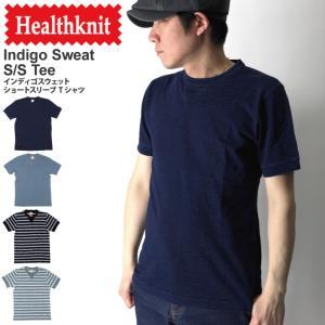 (ヘルスニット) Healthknit インディゴ クルーネック スウェット Tシャツ カットソー 無地|retom