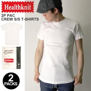 (ヘルスニット) Healthknit 2パック クルーネック Tシャツ カットソー パックT(2枚組)|retom