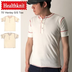 (ヘルスニット) Healthknit 70' ヘンリーネック ショートスリーブ Tシャツ|retom