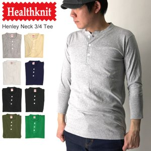 (ヘルスニット) Healthknit ヘンリーネック 7分袖 Tシャツ カットソー|retom