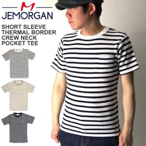 (ジェーイーモーガン) JEMORGAN サーマル ボーダー クルーネック ポケット Tシャツ ショートスリーブ ワッフル素材|retom