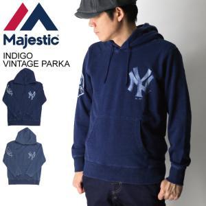 (マジェスティック) Majestic ヤンキース インディゴ ヴィンテージ スウェット パーカー プルオーバー パーカー 裏毛 メンズ retom