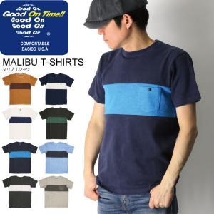 (グッドオン) Good On マリブ Tシャツ ボーダー Tシャツ ポケット Tシャツ カットソー メンズ レディース|retom