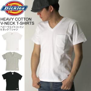 (ディッキーズ) Dickies ヘビーウエイト コットン Vネック Tシャツ ポケットTシャツ カットソー メンズ レディース retom