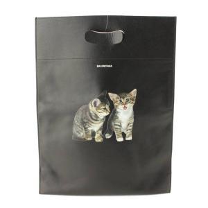 【バレンシアガ】Balenciaga 猫プリント レザートートバッグ クラッチバッグ 544310 ブラック 【中古】【正規品保証】104534|retrojp