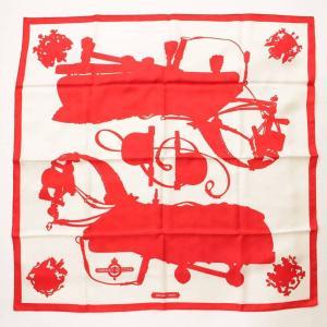 【エルメス】Hermes カレ90 スカーフ Harnais de Cour 宮廷の馬具 レッド ホワイト 未使用【中古】【正規品保証】105299|retrojp