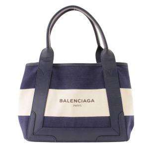【バレンシアガ】Balenciaga ネイビーカバス S キャンバス ボーダー トートバッグ 339933 【中古】【正規品保証】105774|retrojp